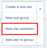 New site collection button available on the submenu.