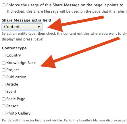 Location of the Share Message Extra Field and content type list.