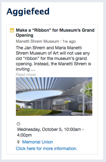 Screen capture of an event listed in an AggieFeed event regarding the opening of the Shrem Museum of Art.