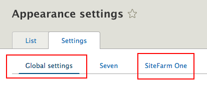 Appearance settings themes