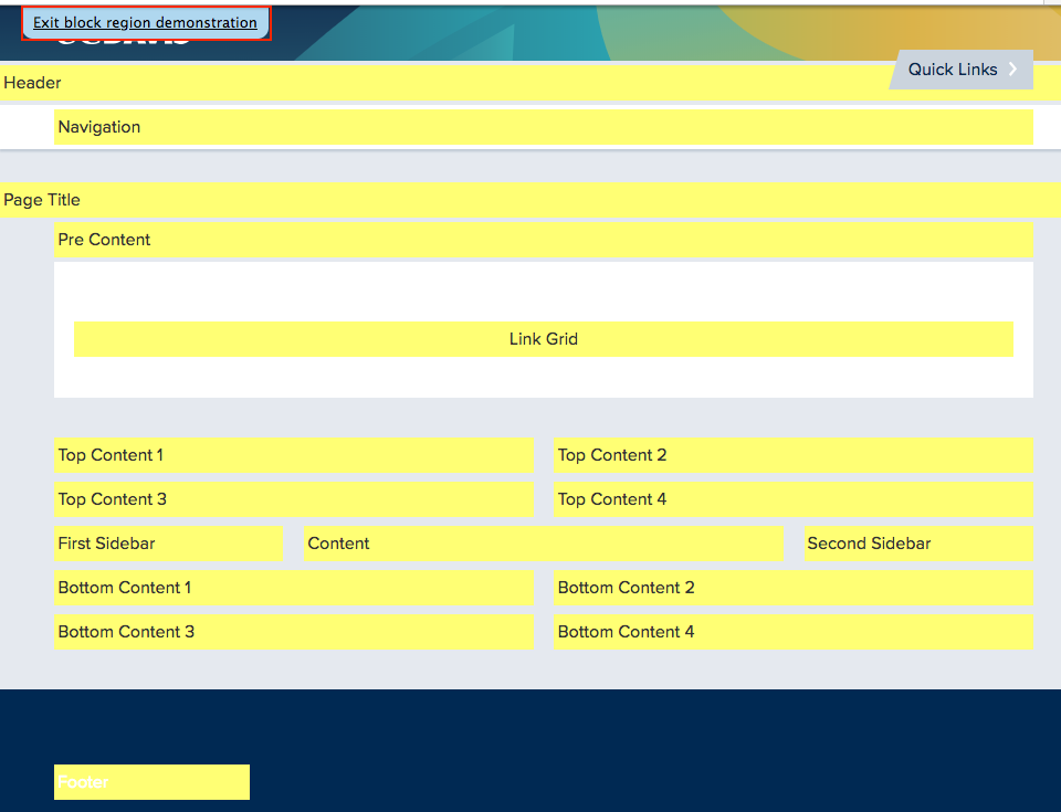Screenshot of the available block regions in the SiteFarm template