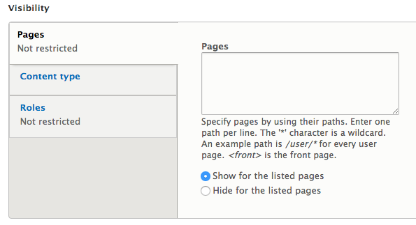 Block visibility options allowing you to list pages that will be display or hide a block.