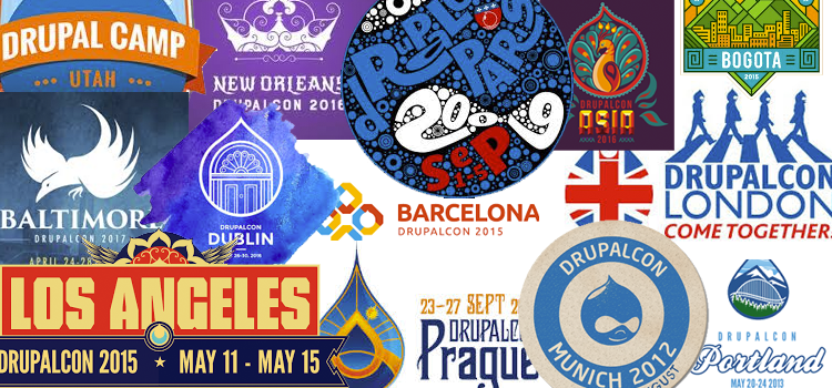 What is Drupal? A collage of posters from worldwide community events