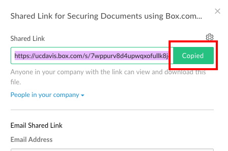 Showing the clicked-on Copied button; the link has been added to your computer's clipboard for use elsewhere.