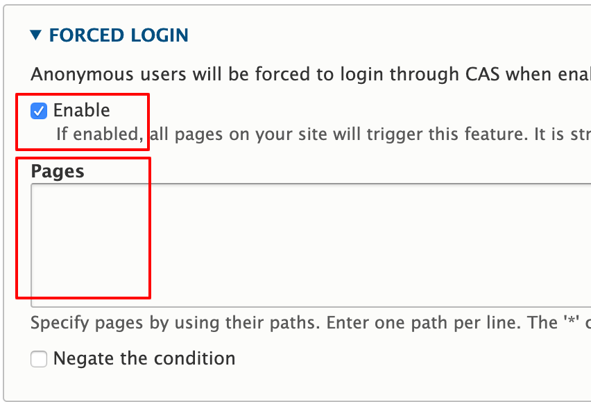 Screenshot of the CAS settings section for forced login showing the Enabled box checked and the Pages field left blank.