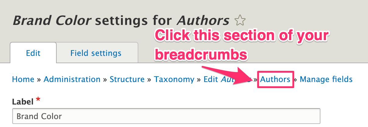 Use the breadcrumb link on the Brand Color page to return to the main page for your vocabulary.