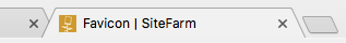 An example browser tab for the SiteFarm site displaying the SiteFarm favicon logo preceding the page title text.