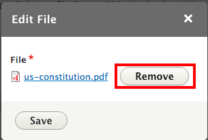 Remove your current file so you can upload a new one.
