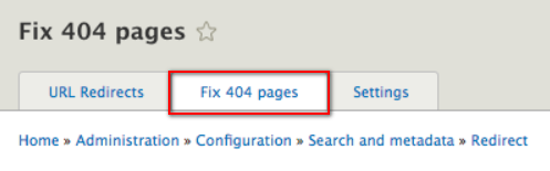Location of the Fix 404 pages tab location