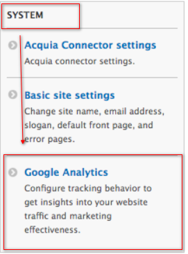 Location of the Google Analytics id setting
