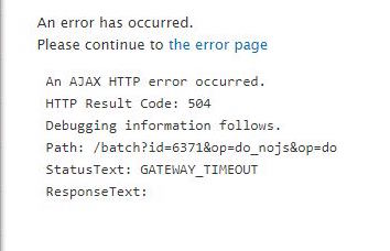 An AJAX error message indicating a timeout problem.