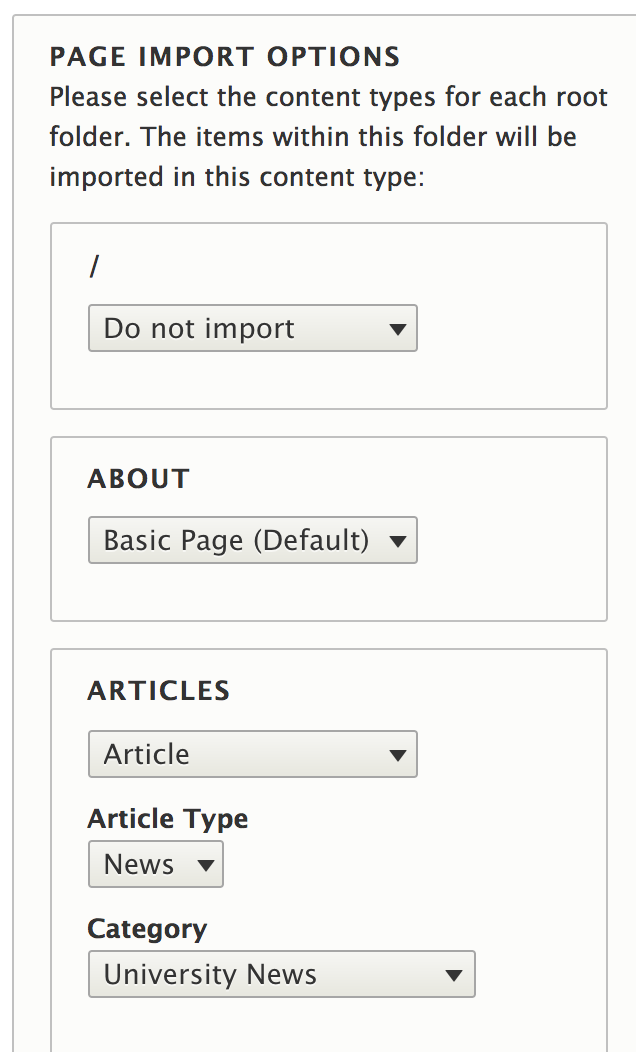 Step 3: page import options
