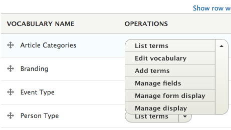 Drop-down menu listing your options for working with terms.