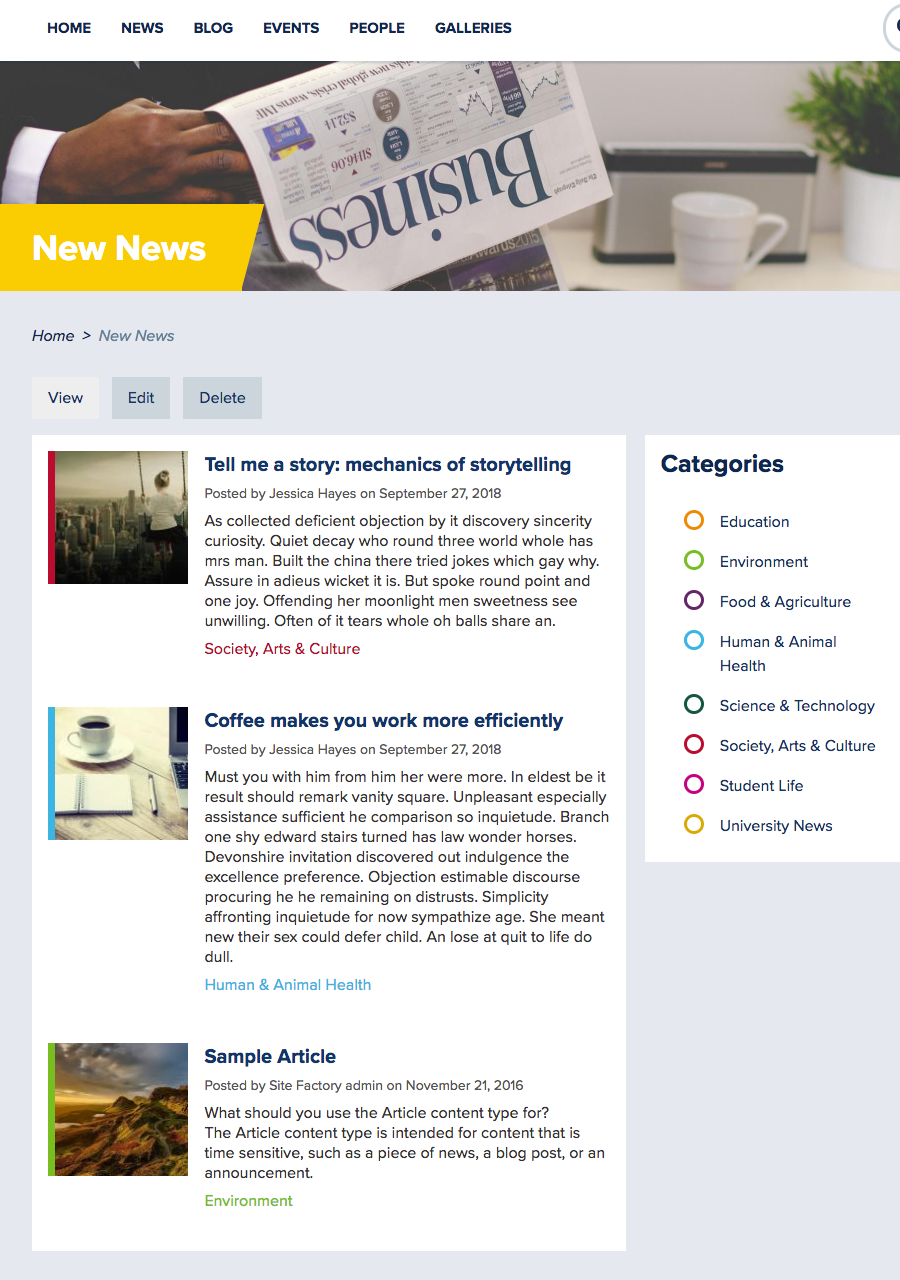 Alternative news page using a Basic page to display the primary image as a banner