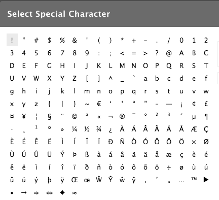 Screenshot of the available list of special characters included in the WYSIWYG.