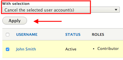 Select the cancel the user account option from the drop-down menu.
