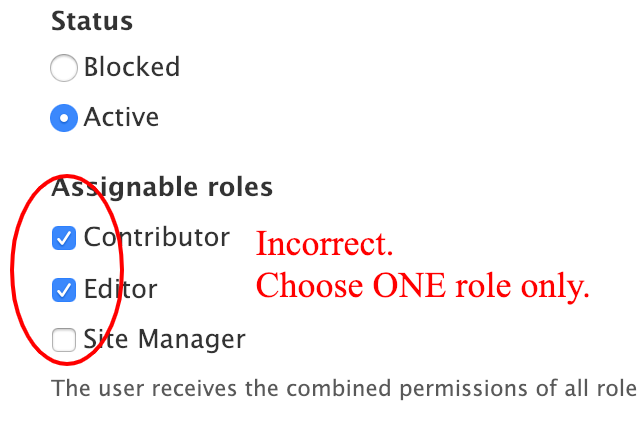 Incorrect role selection