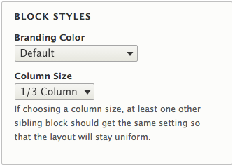 Block style options related to branding color and column size.