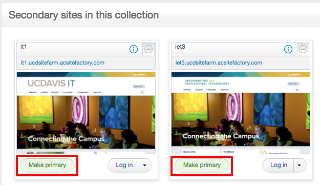 Each site listed in the Secondary Sites section includes a Make Primary button option.