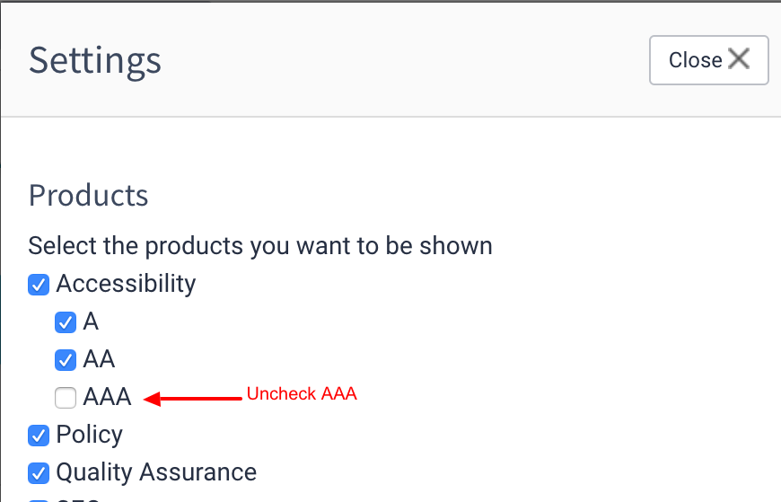 Uncheck the AAA checkbox.