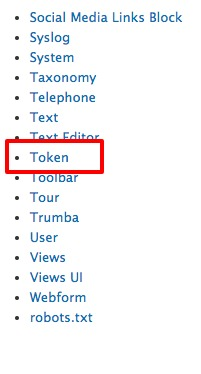 A list of available Help topics with the link to the Token page encircled to make it easier to find in the list.