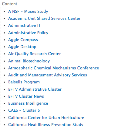 A small section of the embed view's list of sites