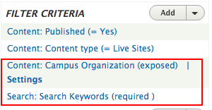 The Filter Criteria section once the selections and configurations have been completed
