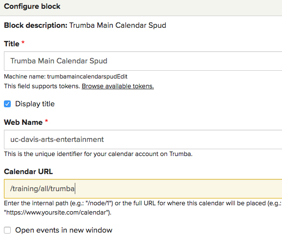 Configuration options available in the Trumba main calendar spud block
