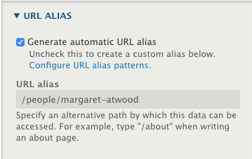 Screenshot of the URL Alias section available from the Additional Options sidebar.