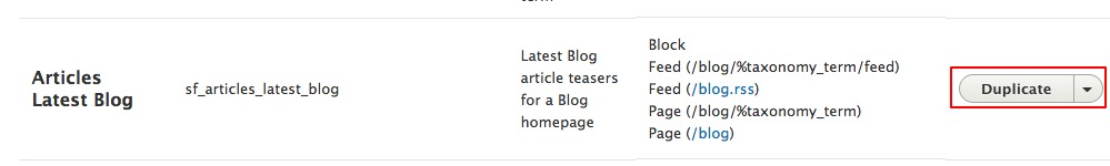 Screen cap of the listing for the Article Latest Blog view.