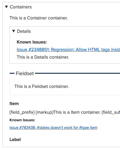 A visual example of all the container types available in the Webforms module.
