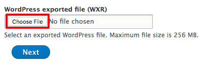 Choose your exported site file for upload.