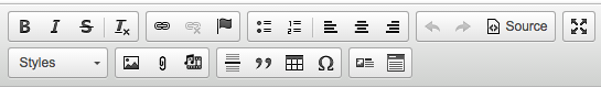 Icon bar for formatting content
