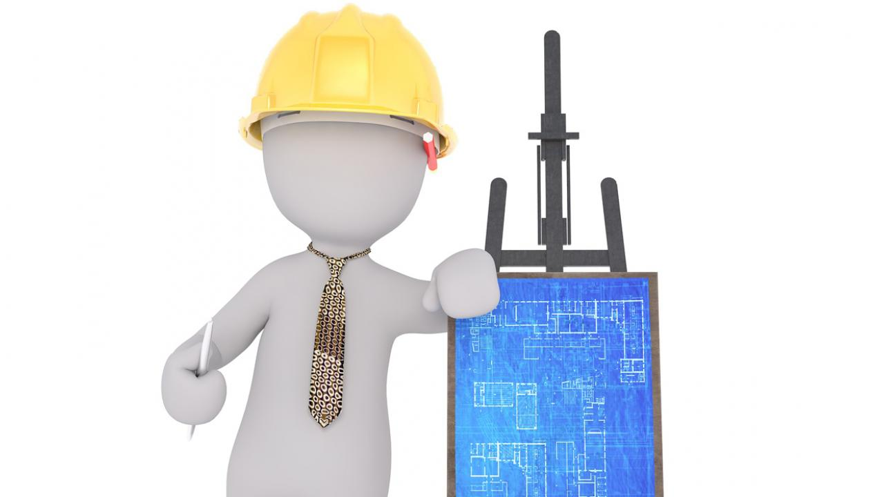 Illustration of a generic figure wearing a hard hat and leaning against an easel displaying architectural blueprints.