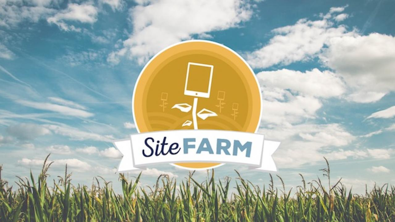 Tandem's iamge of the SiteFarm logo over a field of grass and a blue sky with clouds in the background.