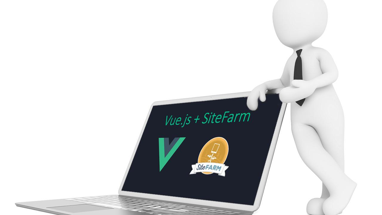 A 3D figure wearing a tie leans on a laptop whose screen displays the Vue.js and SiteFarm logos.
